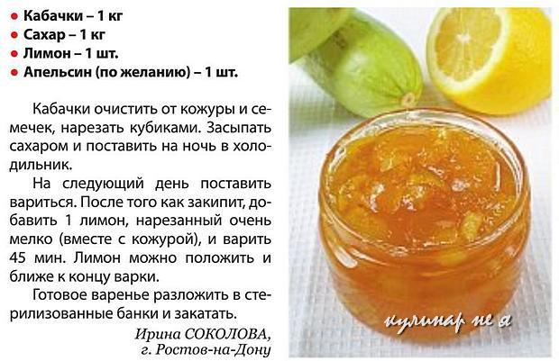Варенье из кабачков с лимоном рецепт фото
