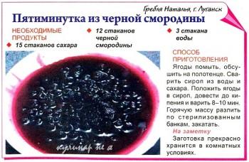 пятиминутка из черной смородины рецепт стаканами металлическая