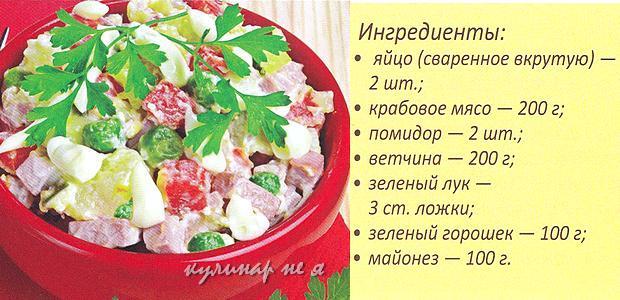 Салат с ветчиной крабовыми палочками